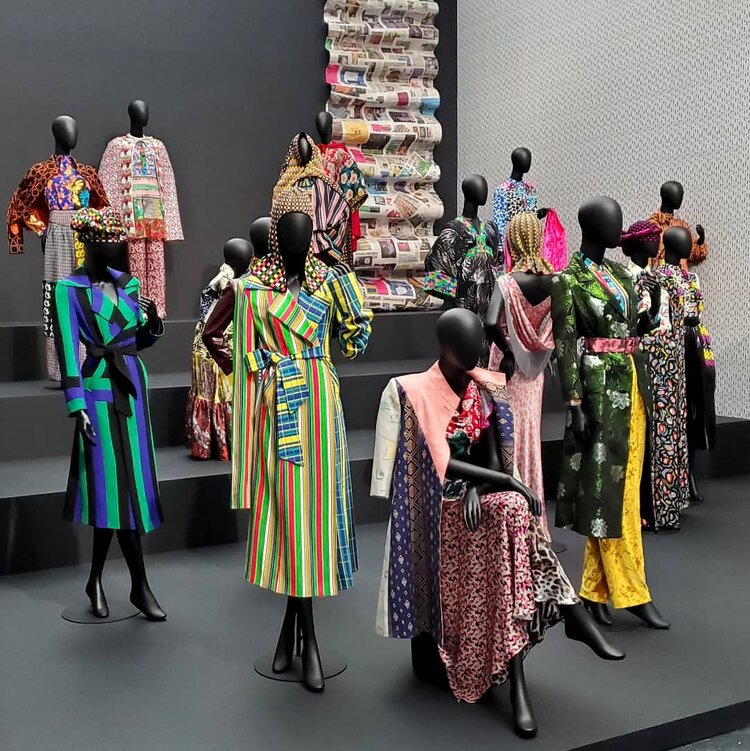 Mannequins wearing Duro Olowu's designs in DURO OLOWU. From the exhibition DURO OLOWU: SEEING CHICAGO at The MCA Chicago Feb 29–Sep 27, 2020