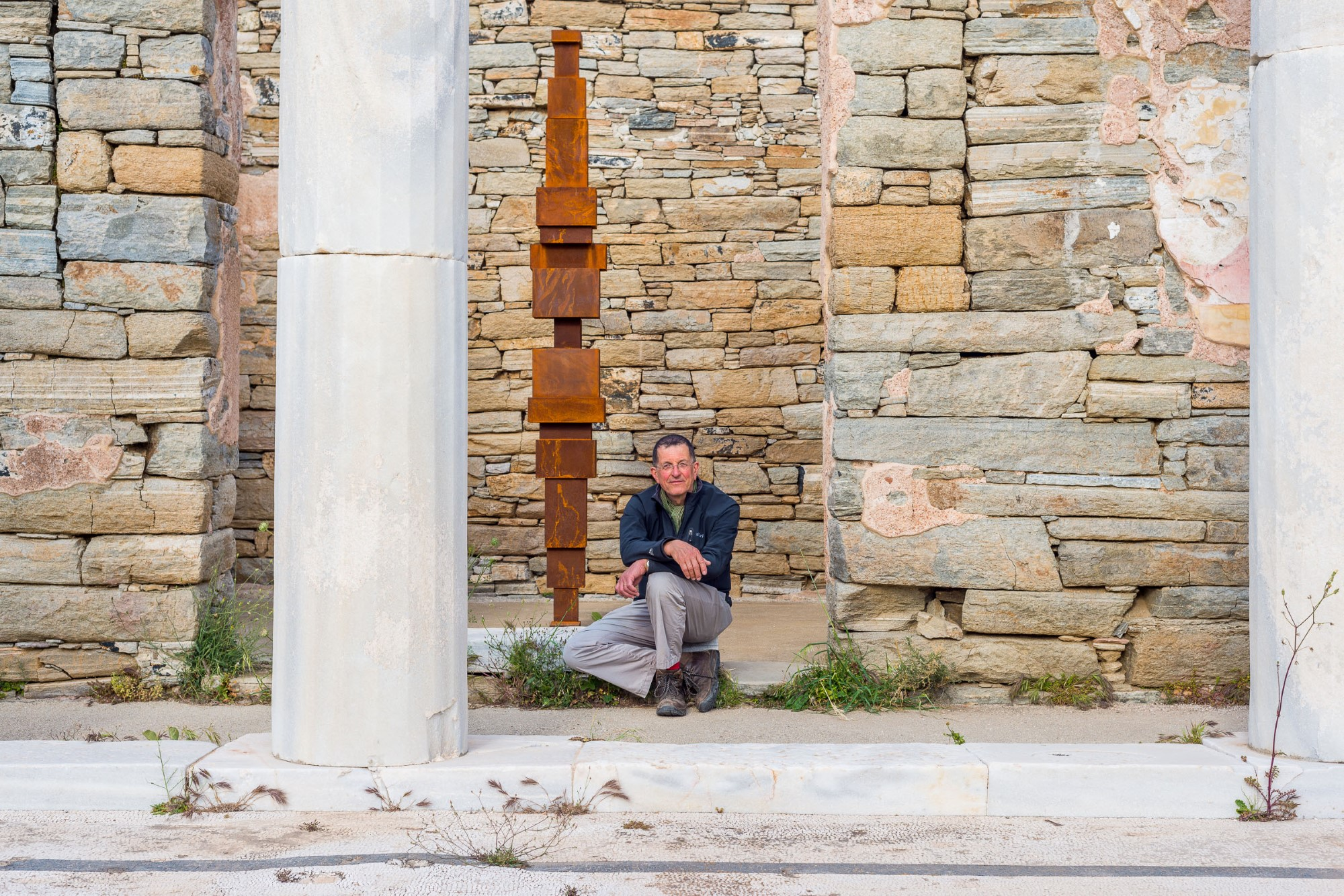 Antony Gormley at the archaeological site of Delos Island, SIGHT, 2019. © Oak Taylor Smith   Courtesy NEON; Ephorate of Antiquities of Cyclades & the artist.