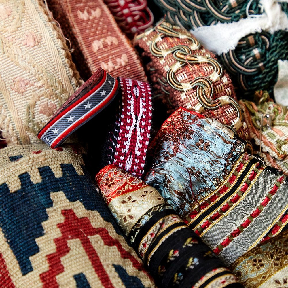 Just a few of the many trims in Robert Kime's archive. Photo by Simon Brown Photography Ltd.