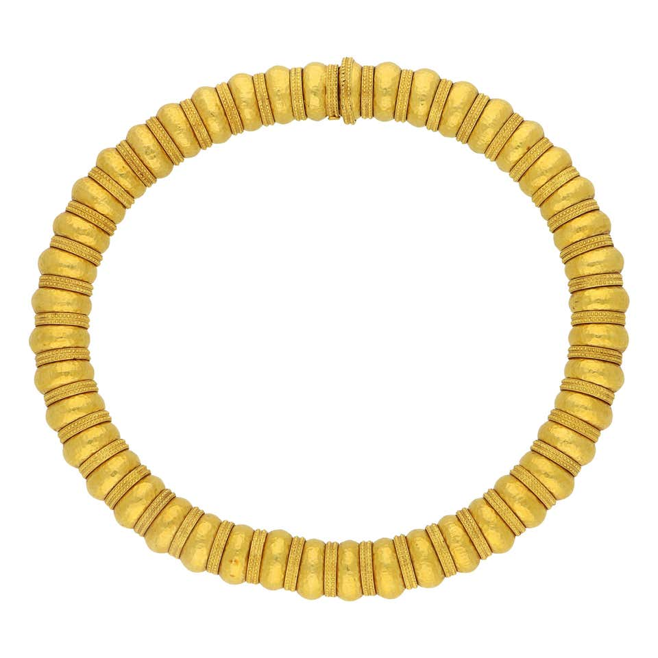 Ilias Lalaounis Gold Bead Necklace with Hammered Finish and Textured Rondels.