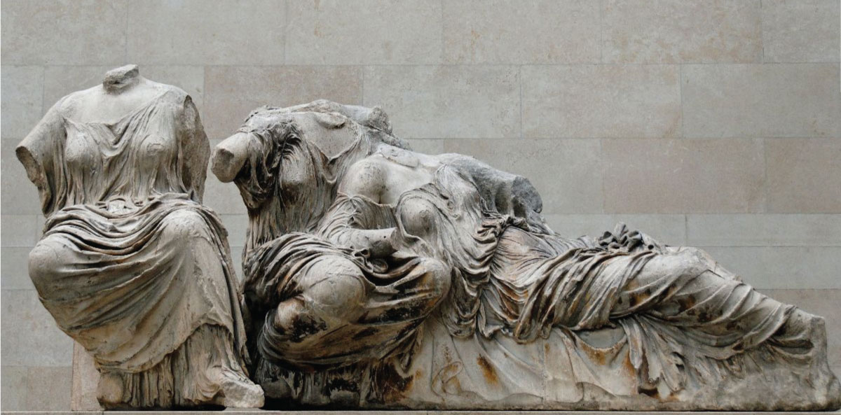Hestia, Dione and Aphrodite, from the east pediment of the Parthenon, ca. 447-432, Marble. Main floor, room 18: the Parthenon galleries, The British Museum. Photo © Marie-Lan Nguyen.