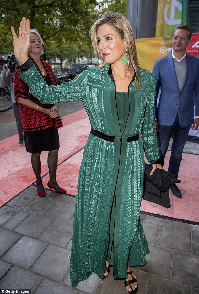Queen Maxima of Netherlands wears total look from Zeus+Dione to attend the LOEY award ceremony for the best online entrepreneur in Amsterdam.